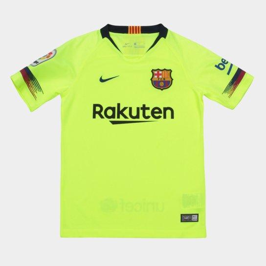 48612d6f1593a Camisa Barcelona Infantil Away 2018 s n° - Torcedor Nike - Verde ...