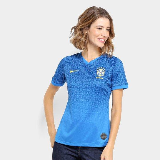 f101d3562 Camisa Seleção Brasil II 19 20 s nº Torcedor Nike Feminina - Azul ...