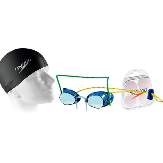 89fa8e749 Kit Natação com Óculos Speedo Competition + Protetor + Touca - Azul+Preto
