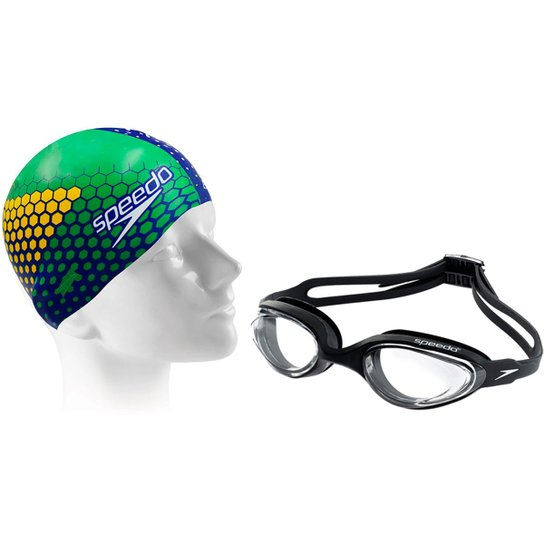 49fbdf1a54de1 Kit Natação com Óculos Speedo Hydrovision + Touca Eu Amo o Brasil -  Azul+Preto