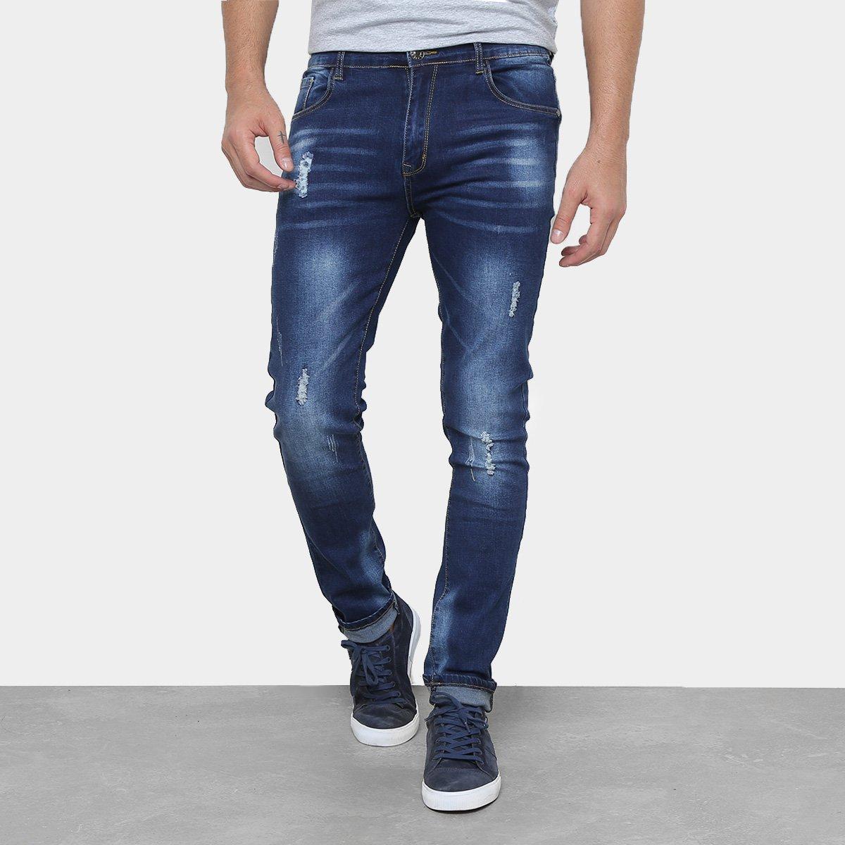 523e5cb2c Calça Jeans Skinny WATKINS&KROWN Estonada Cintura Média Masculina