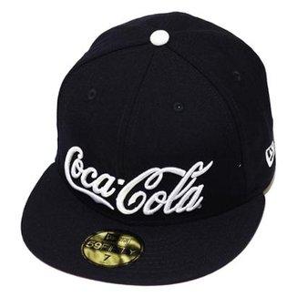 Boné New Era Aba Reta Fechado Coca-Cola Enjoy Navy 8230d5d0762