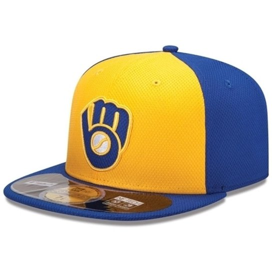 Boné New Era Aba Reta Fechado Mlb Brewers Diamond Era - Azul ... ca0a1bf2c93