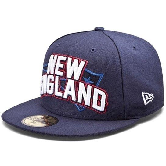 Boné New Era Aba Reta Fechado Nfl Patriots Draft Outline - Azul ... 556c6b7660d9
