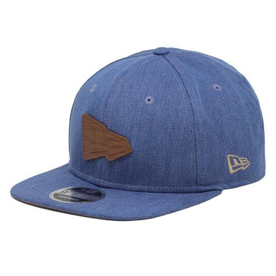 Boné New Era Aba Reta Snapback Brand Flag Jeans Ipé - Azul - Compre ... 3fb0f5998da
