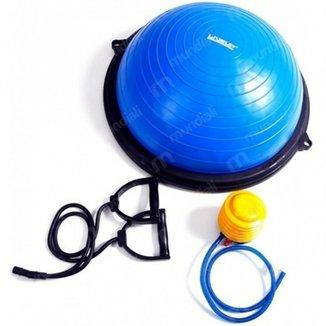 Meia Bola Balance 60cm Bosu com Bomba Sanfonada para Inflar LiveUp 8fe2608b9fc24