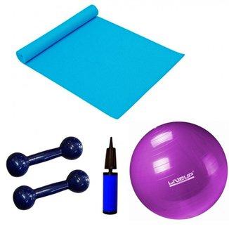 Kit Pilates com Bola 55 Cm + Mini Bomba + Colchonete + 2 Halteres 1kg LiveUp 693bfbb96fa8a