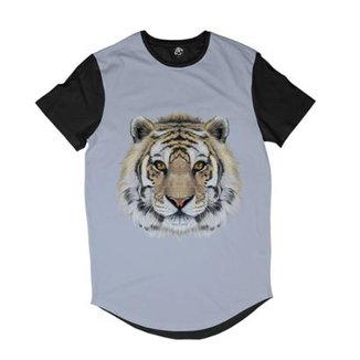 92e9ff39639c2 Camiseta Longline BSC Cara de Tigre Sublimada Masculina