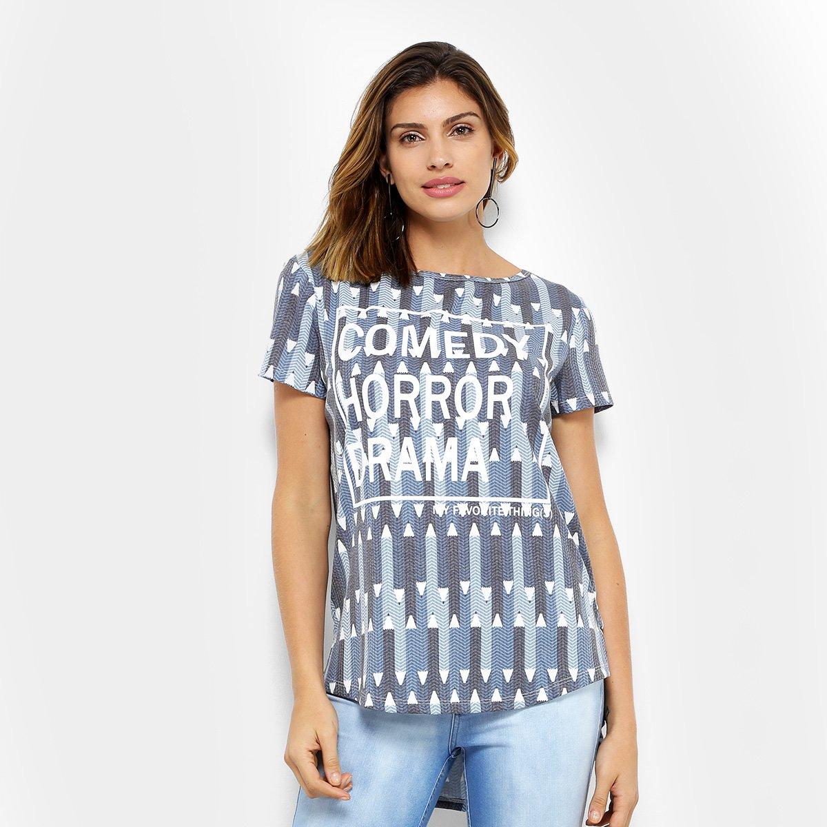 a63ba71b59 Camiseta My Favorite Thing (s) Alongada Estampada Feminina