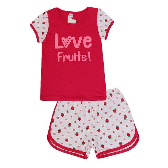 5eb41d1cf13b61 Pijama Infantil Camiseta e Short Estampa Morango Gueda Kids Feminino - Rosa  e Pink