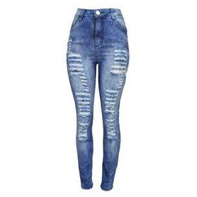 8699cc27e Calça Jeans Flare Sawary Estonada Rasgos Cintura Alta Feminina ...