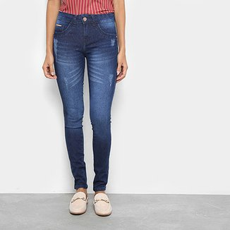 545515f010833 Calça Jeans Skinny Chocomenta Estonada Cintura Média Feminina