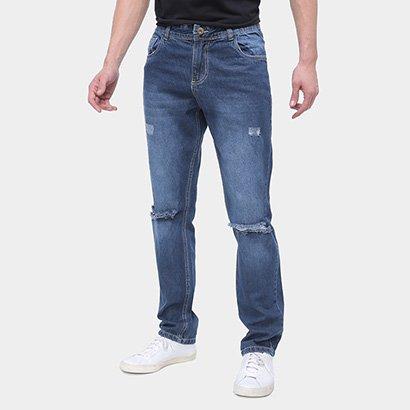 Calça Jeans Slim Grifle Puídos Masculina