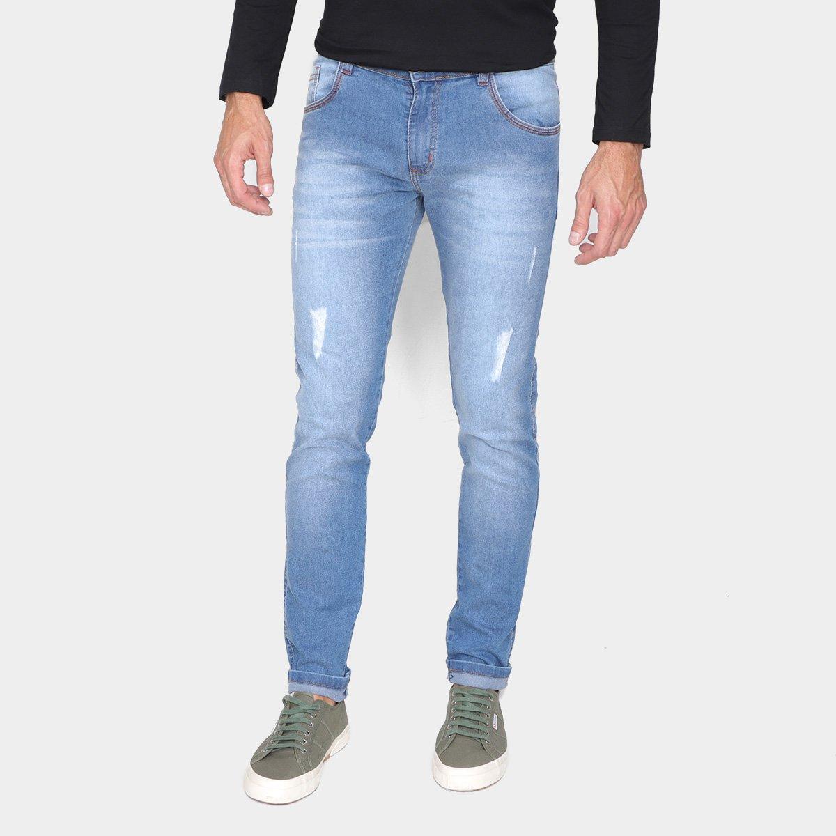 Calça Jeans Skinny Grifle Puídos Masculina
