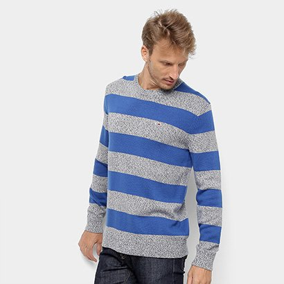 Malha Tommy Jeans Rugby Stripe Sweater Masculina
