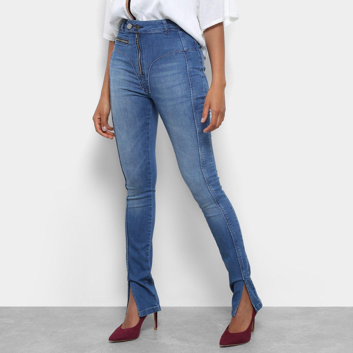 Calça Jeans Skinny Open Recorte Frontal Cintura Média Feminina5