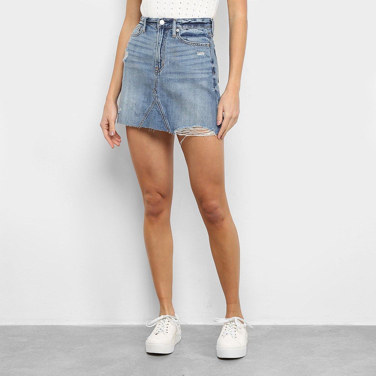 Mini Saia Jeans GAP Cintura Alta Destroyed