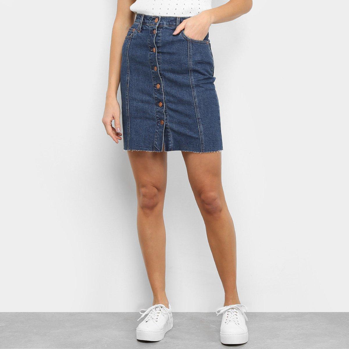 Saia Jeans GAP Botões Cintura Alta
