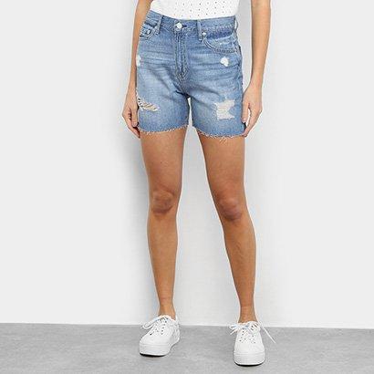 Short Jeans GAP Cintura Alta Destroyed Feminino