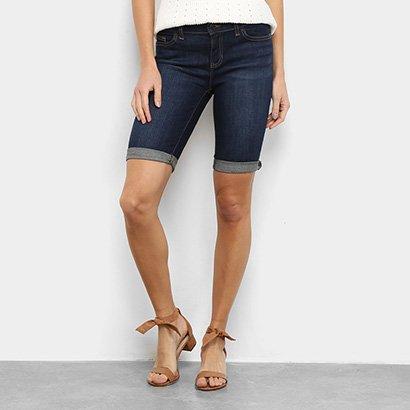 Bermuda Jeans GAP Barra Drobrada Feminina