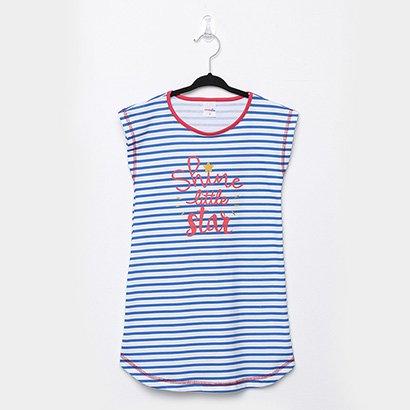 Pijama Infantil Candy Kids Camisola Meia Malha Listras