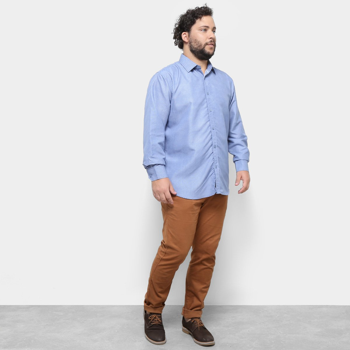87b1a4652a01e2 Camisa Delkor Manga Longa Plus Size Masculina - Tam: G3 - Shopping ...