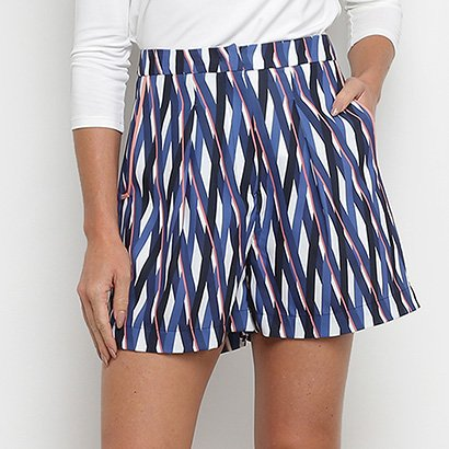 Shorts Enna Estampado Alfaiataria Cintura Alta Feminino