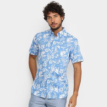 Camisa Manga Curta Izod Floral Masculina
