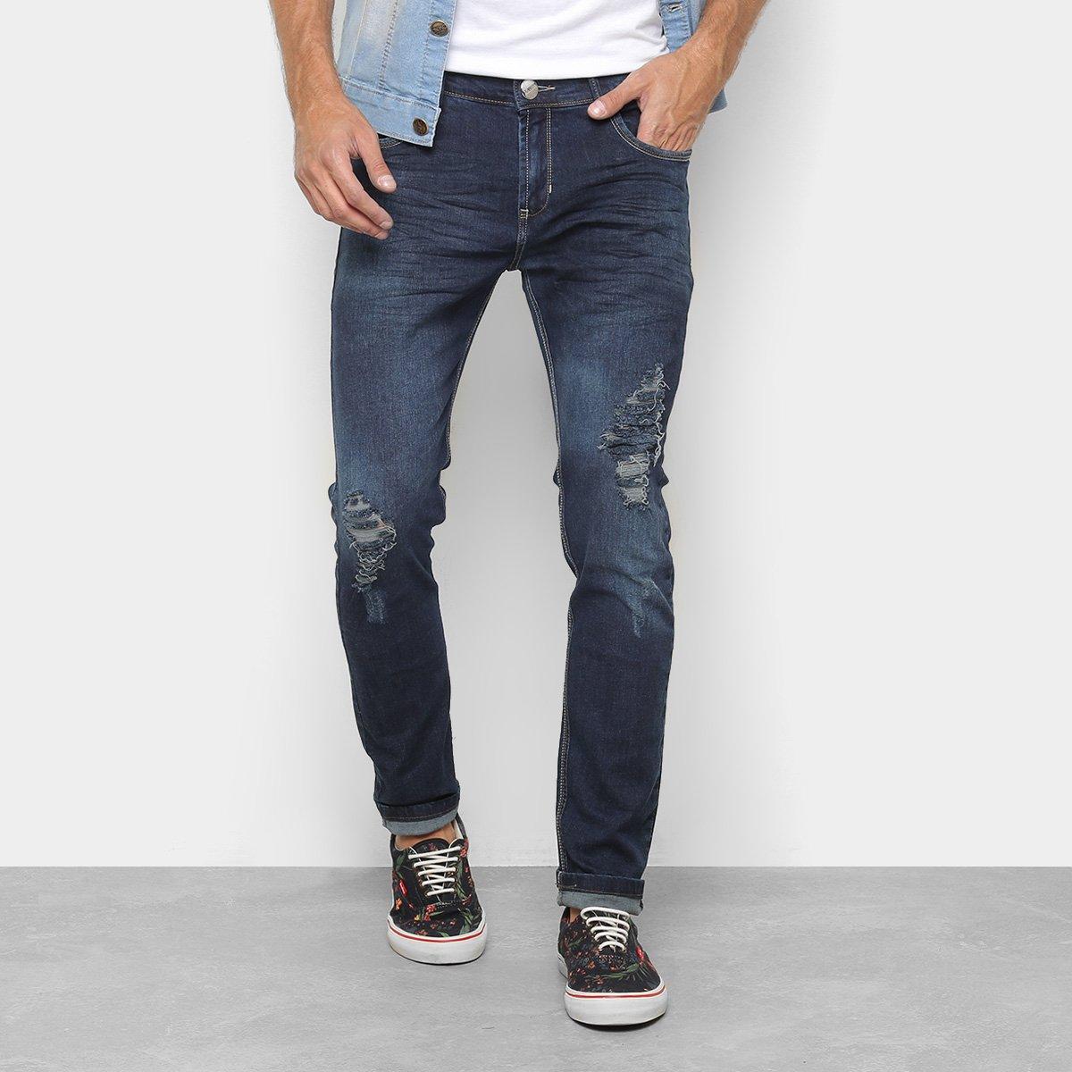 7357be086 Calça Jeans Skinny Preston Estonada Puídos Cintura Baixa Masculina