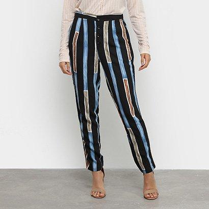 Calça Malharia Nacional Pantalona Trançado Feminina