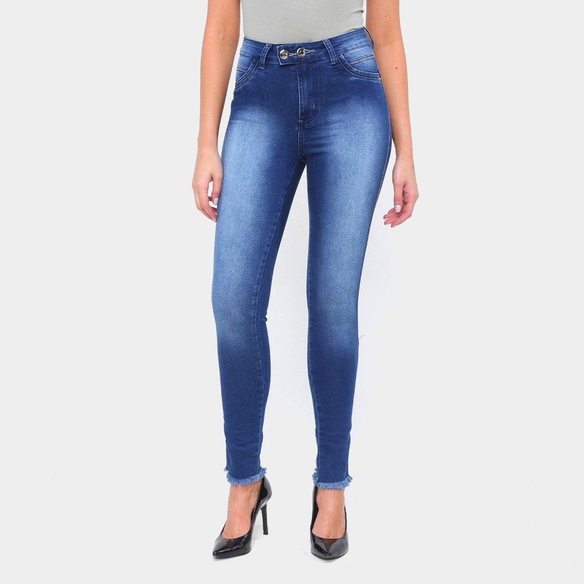 Calça Jeans Skinny TKS Barra Desfiada Feminina