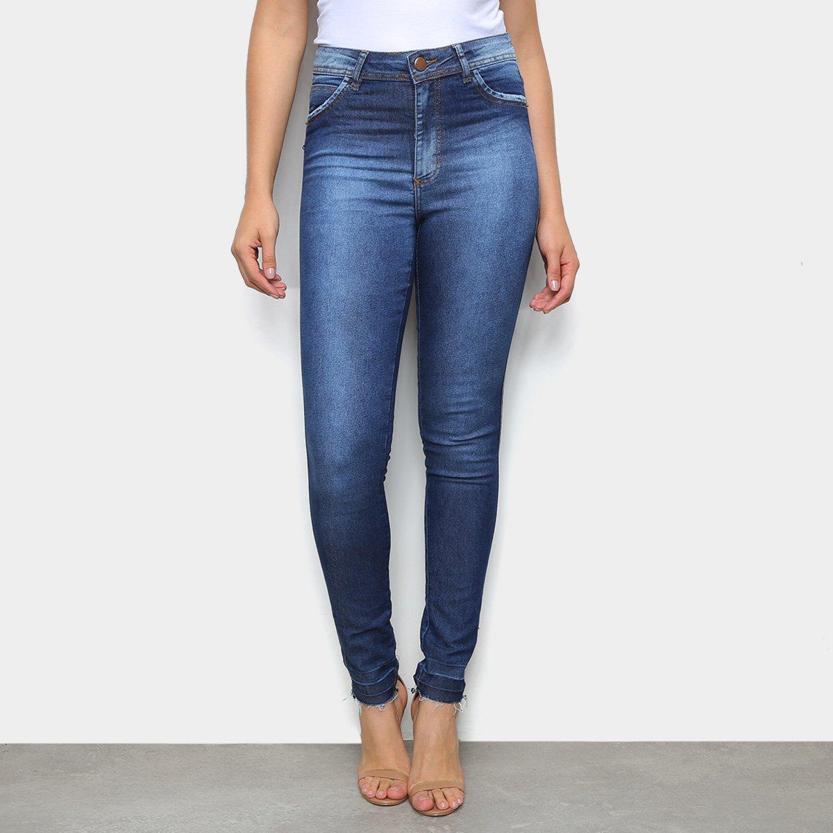 Calça Jeans Skinny TKS Puídos Cintura Média Feminina