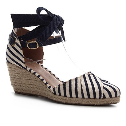 Sandália Anabela Shoestock Flatform Espadrille Tecido Navy Feminina