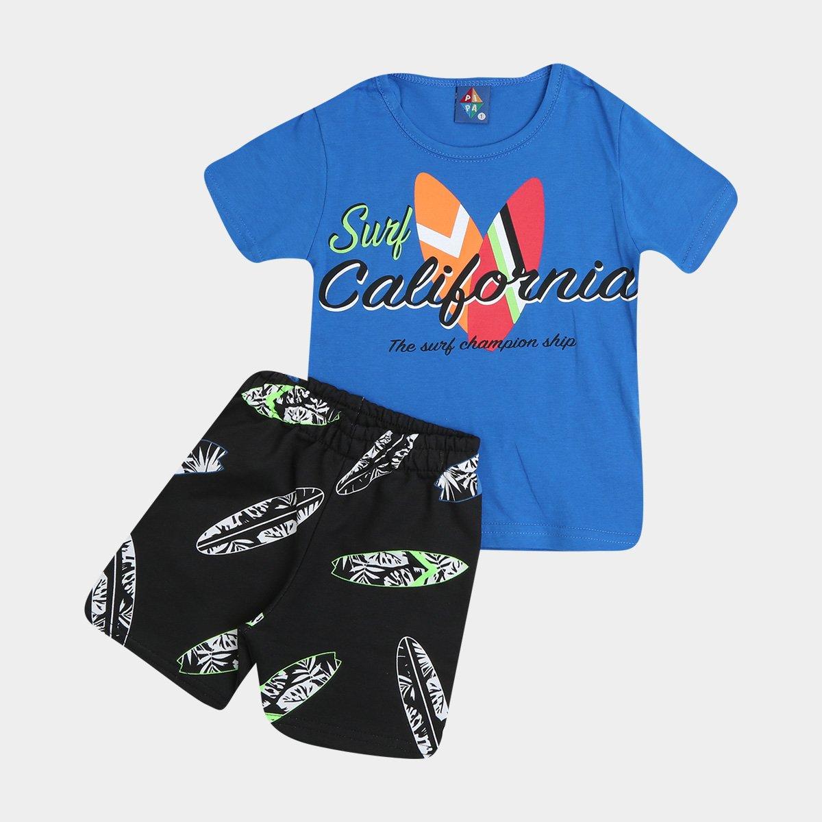 Conjunto Bebê Pipa Surf California Camiseta + Bermuda Masculino