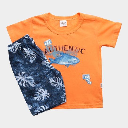 e2dd442ca4 Conjunto Infantil Elian Tubarão Just For Fun Masculina - Azul ...