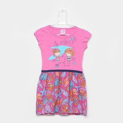 Vestido Infantil For Girl Curto Evasê Conchas