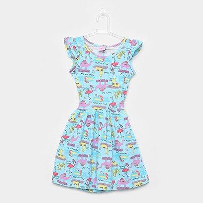 Vestido Infantil For Girl Curto Evasê Estampa Animais