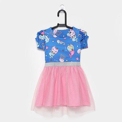 Vestido Infantil For Girl Gatinha Tule Lurex
