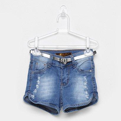 Short Jeans Infantil Mox Cinto Feminino
