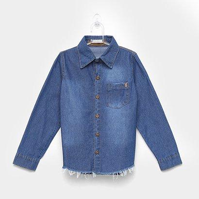 Camisa Infantil Mox Jeans Bolso Desfiada Masculina