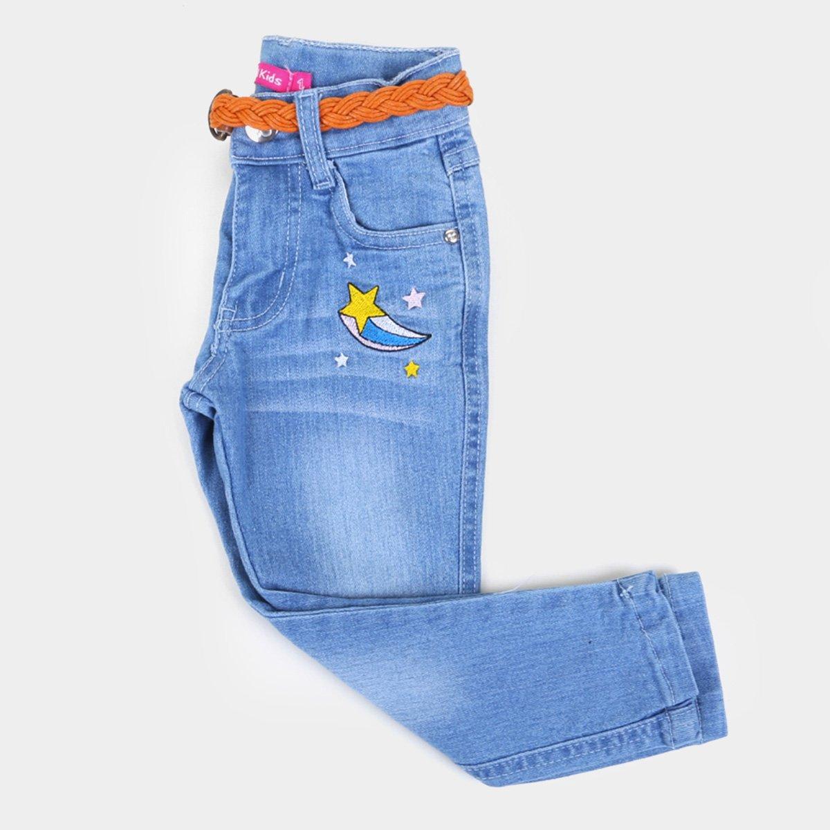 Calça Jeans Bebê Plural Kids Com Cinto Feminina