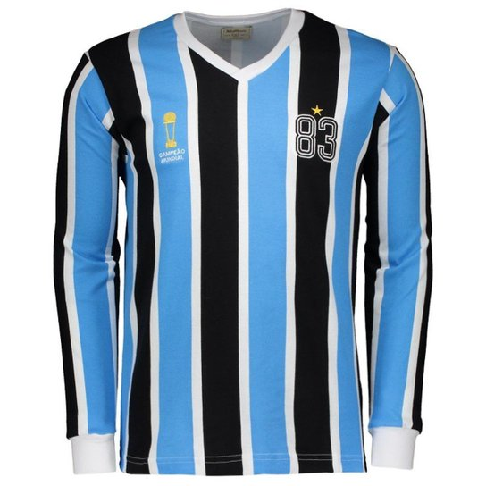 544995cc5 Camisa Grêmio Retrô 1983 Manga Longa Masculina - Azul+Preto ...