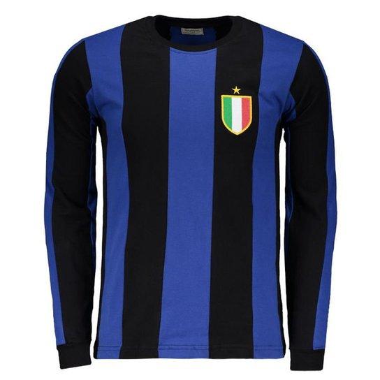 47c9d148a Camisa Inter De Milão Retrô 1966 Manga Longa Masculina - Azul+Preto
