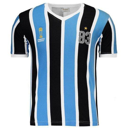 82616fb4b Camisa Grêmio Retrô 1983 Mundial Masculina - Azul e Preto - Compre ...