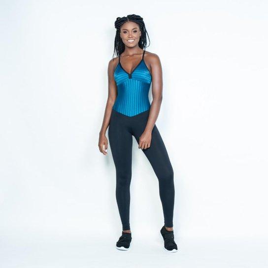 de85fe1a6 Macacão Honey Be Fitness Textura Feminino - Azul e Preto - Compre ...