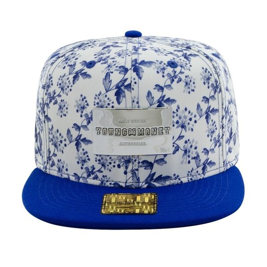 Boné Aba Reta Young Money Snapback Floral Blue Gold Series - Azul ... f9cd10965b7