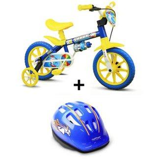 3d0e9495a Bicicleta Nathor Shark Aro 12 Infantil Com Capacete