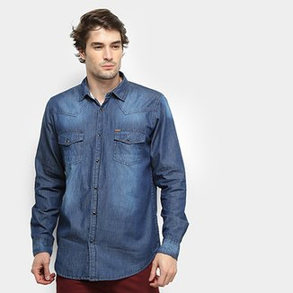abdf7c3595 Camisa Jeans Gajang Wilton Manga Longa Masculina