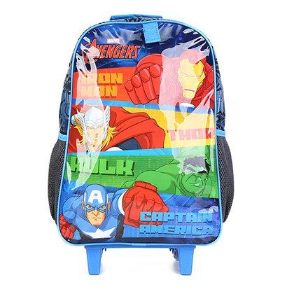 Mochila Escolar Infantil DMW Marvel Avengers Com Rodinhas