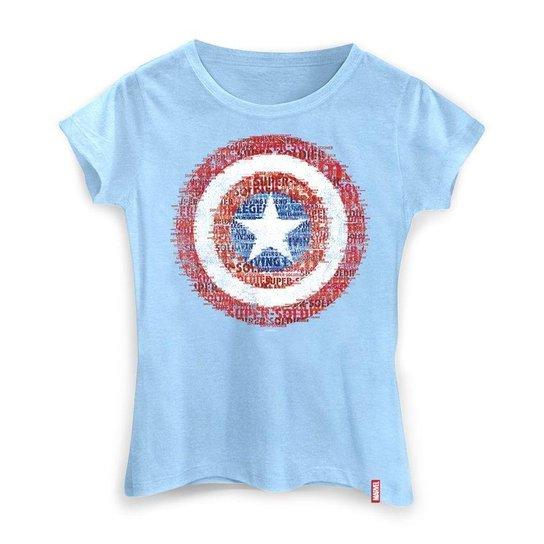 Camiseta Feminina Marvel Escudo Super Soldado - Azul - Compre Agora ... 1c713f90695db